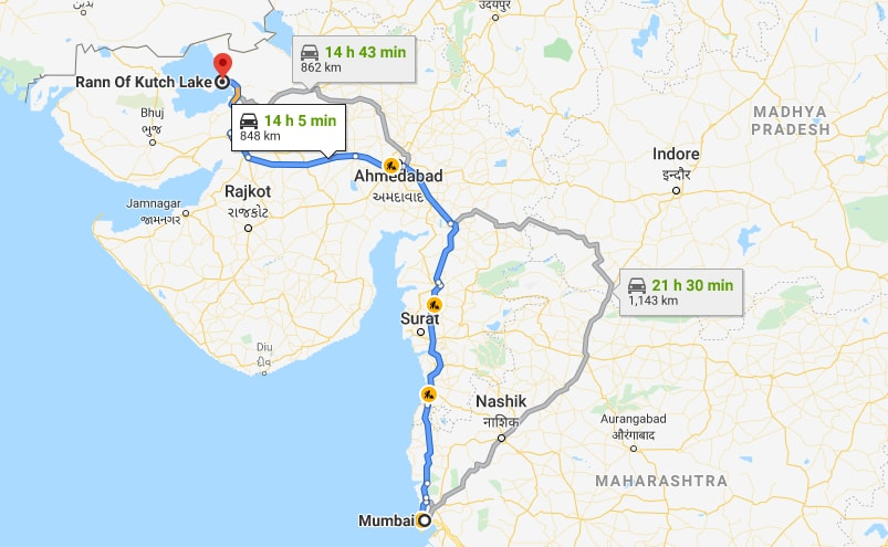 Best Route for Mumbai to Rann of Kutch